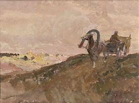 Franz Roubaud : Russisches Fuhrwerk. Aquarell / Kunsthandel Joseph Steutzger
