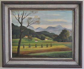 Alfred Leithäuser (1898 Barmen - 1979 Gauting) : Abend im Inntal. - Öl/Malpappe