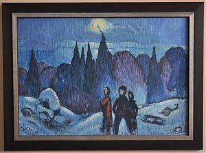 Ankauf Gemälde in München und bayernweit  - KUNSTHANDEL JOSEPH STEUTZGER /  www.steutzger.de  : Walter Lederer (Übersee/Chiemsee) : In der Winternacht