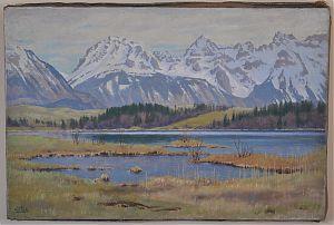 Carl Kessler (1876-1968) : Barmsee mit Karwendel im Vorfrühlung. - Öl/Leinwand