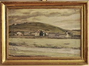 Franz Klemmer : Ansicht von Pfünz (Studie) // Ankauf Gemälde (Öldbilder) Eichstätt & Altmühltal //  Antiquariat Joseph Steutzger.