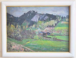 Ankauf Gemälde in München und bayernweit  - [Anonymus] : Bergfrühling. - Öl/Hartpappe // Buch- und Kunst-Antiquariat Joseph Steutzger / www.steutzger.de