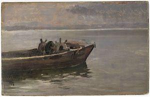 Carl Raupp (1837 Darmstadt - München 1918) : Fischerboot am Chiemsee. - Öl/Studie, 1897 // Buch- und Kunst-Antiquariat Joseph Steutzger // www.steutzger.de // Ankauf Gemälde München, Prien am Chiemsee & Wasserburg am Inn