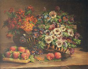 Eugène Henri Cauchois (1850 Rouen 1911 Paris) : Panier de fleurs avec des pêches / Blumenkorb mit Pfirsichen. - Öl/Lwd. - Kunsthandel Joseph Steugtzger / Buch a.B./bei München / Gemäldeankauf München
