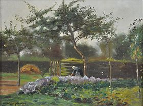 Victor Gilsoul (1867 Brüssel -1939 Woluwe-Saint-Lambert) : Paysanne dans le jardin d'herbes Bäuerin im Krautkarten. - Öl/Holz. - Kunsthandel Joseph Steutzer / www.steutzger.de / Ankauf Gemälde in München und bayernweit