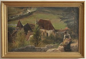 Carl/Karl Raupp: Kloster in Pappenheim, 1878 - Öl/Leinwand/Pappe