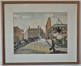Thomas Niedereurther (1909-1990) : Odeonsplatz, Mischtechnik, 1953. - Joseph Steutzger / Kunsthandel - https//ankauf-gemaelde-muenchen.de - Gemäldeankauf München