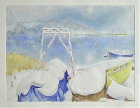 Eugen Croissant : Segelboote am Chiemsee im Winter. - Aquarell. - Joseph Steutzger Kunsthandel - Ankauf Gemälde - Chiemseemaler - https://ankauf-gemaelde.muenchen.de