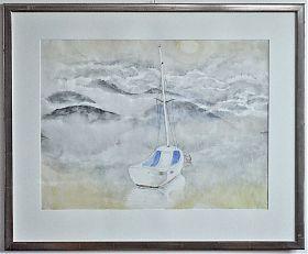 (1898 Landau/Pfalz-1976 Breitbrunn/Chiemsee) : Segelboot am Chiemsee im Nebel. - Aquarell. - Joseph Steutzger Kunsthandel - Ankauf Gemälde - Chiemseemaler - https://ankauf-gemaelde.muenchen.de